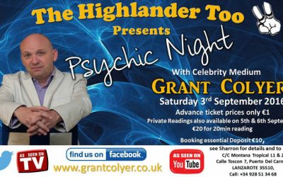 LIVE AT HIGHLANDER TOO IN LANZAROTE CELEBRITY MEDIUM